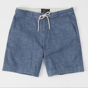 """NWT A&F pull-on plainfront chambray 9"""" shorts"""